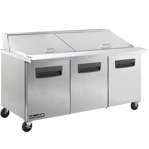 3 door all stainless prep table with 30 pans mega top 72 quot