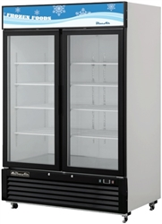 Blue Air, 49 cubic feet, 2 Door Glass Display Freezer, New, Swinging Door