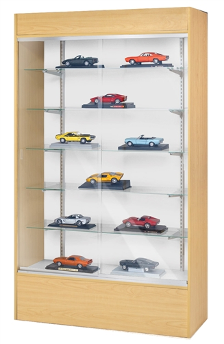 Maple Melamine Laminate Display Case Tempered Glass