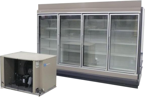 Used Stainless Steel Tables >> 4 Endless Glass Display Cooler, AA Store Fixtures, Used ...