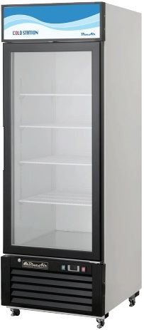 Blue Air, 23cubic feet, 1 Door Glass Display Cooler, New, Swinging Door