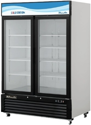 Blue Air, 49 cubic feet, 2 Door Glass Display Cooler, New, Swinging Door