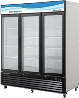 Blue Air, 72 cubic feet, 3 Door Glass Display Cooler, New, Sliding Door