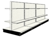Used 12' gondola run with base and 12 adjustable shelves