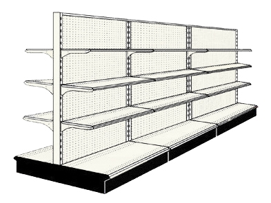 Reconditioned 12' gondola run with base and 18 adjustable shelves