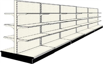 Used 20' gondola run with base and 30 adjustable shelves