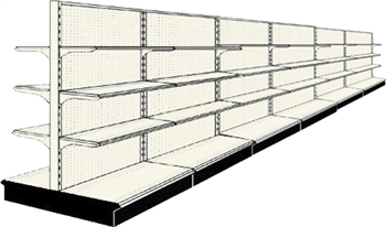 Used 24' gondola run with base and 36 adjustable shelves