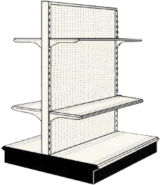 Used 4' gondola run with base and 4 adjustable shelves