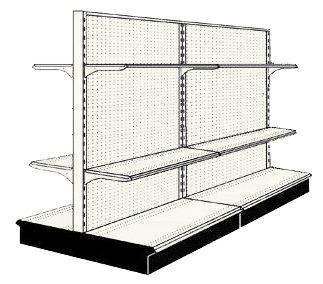 Reconditioned 8' gondola run with base and 8 adjustable shelves