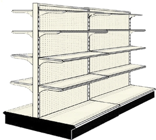 Used 8' gondola run with base and 16 adjustable shelves