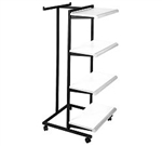 K410 - 4 shelf t stand sq tubing clothes racks, AA Store Fixtures
