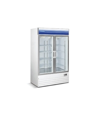 Norpole, 30 cubic feet, 2 Door Glass Display Freezer, New, Swinging Door, self contained, freezers, white, black, discounted price, castors, wheels, refrigerator, commercial, gas station, convenience store, grocery, liquor