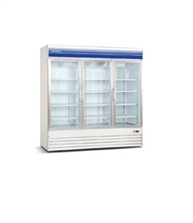 Norpole, 60 cubic feet, 3 Door Glass Display Freezer, New, Swinging Door, self contained, freezers, white, black, discounted price, castors, wheels, refrigerator, commercial, gas station, convenience store, grocery, liquor