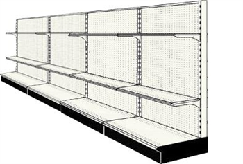 Used 16' wall run with base and 8 adjustable shelves