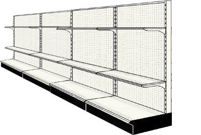 Reconditioned 16' wall run with base and 8 adjustable shelves