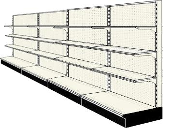 Reconditioned 16' wall run with base and 12 adjustable shelves