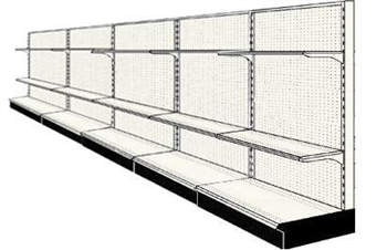 Used 20' wall run with base and 10 adjustable shelves