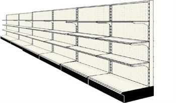 Reconditioned 24' wall run with base and 18 adjustable shelves